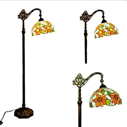 KHDJ Vintage Tiffany Stehlampe, Schlafzimmer Wohnzimmer Stehleuchte, Antik Standllampe mit Fußschalter, 165cm, Retro Buntglas Lampenschirm Wohnzimmerlampe, E27 max, Deko Tischlampe,1