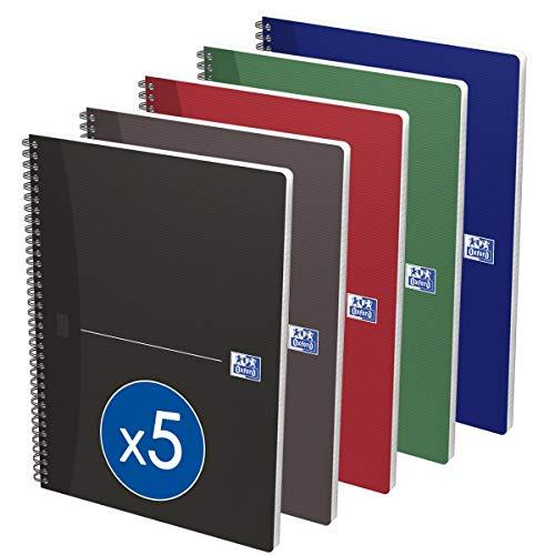 Oxford 282873 - Cuaderno de anillas (multicolor) tamaño A4 - Pack de 5 uds.