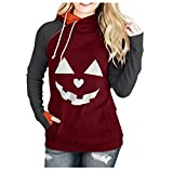 LoveLeiter Damen Halloween Pullover, Damen Kalte Schulter Sweatshirt Pumpkin Print Sweatshirt Party Kostüm Tops Kapuzenpullover 3D Bedruckte Tunnelzug Pullover Swearshirt Mit Taschen