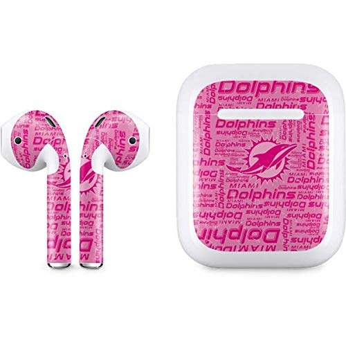 Skinit Decal Audio Skin for Apple AirPods with Lightning Charging Case - Officially Licensed NFL Miami Dolphins - Blast Pink Design