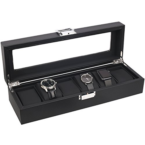 Mantello Watch Box for Men - 6 Slot Luxury Carbon Fiber Design Display Case, Large Holder, Metal Buckle - Black