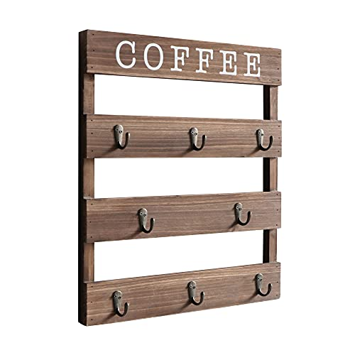 EMAISON Coffee Mug Holder Real Pine Wood 17 x 13 inch Rustic Wall Mounted Cup Organizer Hanging Rack with 8 Hangers for Kitchen, Home, Coffee Bar, Brown
