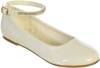 Girls Patent Rhinestone Ankle Strap Flats Dress Shoes Size 9- Size 5 Youth
