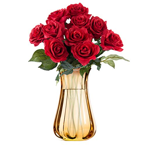 Niceclub 10 Stück Künstliche Pfingstrose Blumen Bouquet Gefälschte Seidenblumen Strauß für Braut Hochzeit Festival Home Decor (Rot)