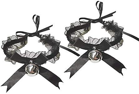 EXCEART 2 Piezas de Encaje Negro Cosplay Gargantilla Lolita Kitty Bell Collar Mujeres Arco Encaje Gargantilla Collar Sexy Disfraz Accesorios