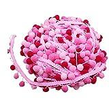LIXBD - Nastro con frangia a sfera con pompon e pompon per cucito, accessorio per abiti, sciarpe, cappelli, tende, 4,5 m (rosso) (colore: rosa)