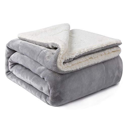 VOTOWN HOME Sherpa Decke Grau weich Kuscheldecke 150x200 cm, Doppelschicht warm flaushig Fleecedecke als Wohndecke/Sofadecke, Flanell Mikrofaser-Flausch Decke für Bett oder Couch
