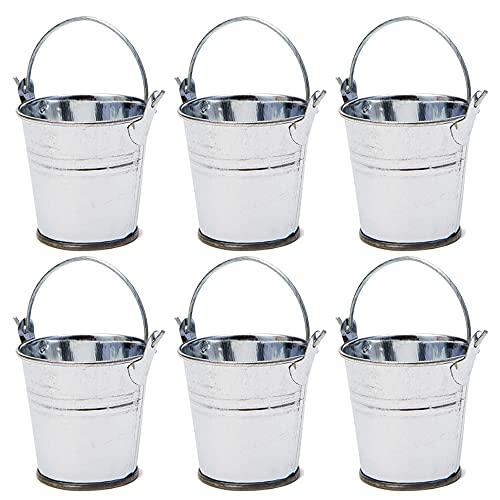 6Pcs Mini Cubos, Cubos de Metal, Lata de Cubo de Metal, Cubos de Regalo, Mini Contenedor de Jardín para Macetas, Macetas de Metal, Mini Caja de Cubo de Metal, Cubos Pequeños de Metal Galvanizado