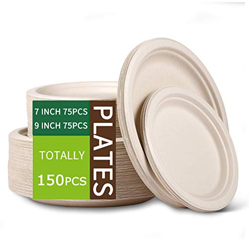 Paper Plates Heavy DutyDinner Plates PaperNatural Disposable Paper Plates for PartySugarcane Disposable Plates Eco9 Inch and 7 Inch 150 PCS
