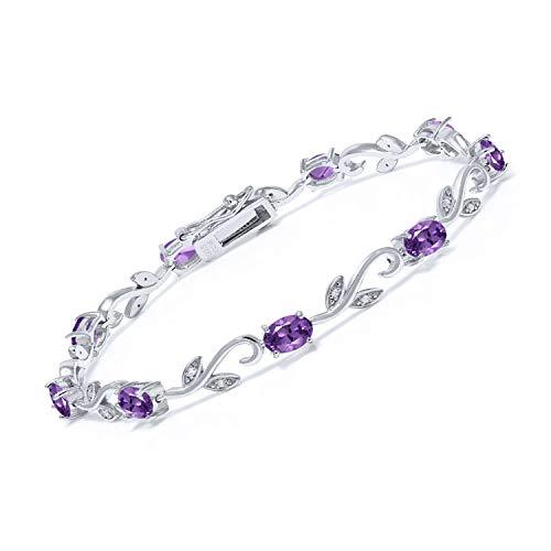 Gem Stone King 925 Sterling Silver Purple Amethyst and White Diamond Greek Vine Tennis Bracelet For Women 3.28 Cttw 7 Inch