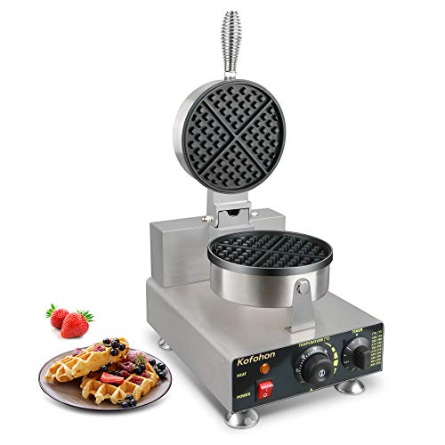Waffle Maker,Electric Commercial&Home Use Waffle Iron With Timer&Temperature Control,Full Stainless Steel Body,Nonstick Coating,Double Side Heating Sandwiches Maker,Upgrade Silver.