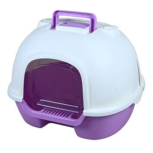 BSTL Inodoro para Gatos Completamente Cerrado, Bandeja de Arena Abatible, Inodoro con Capota y Filtro de Carbón, Los 51x42x89cm, Fácil de Instalar y Usar,Purple