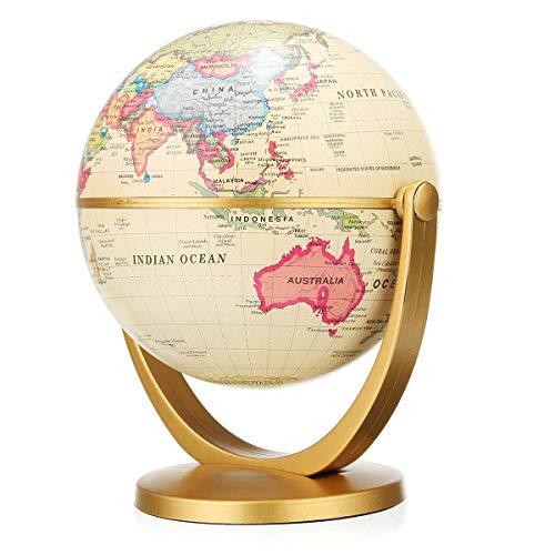 Cacoffay 360 ° Rotating Estilo Europeo Globo Retro Educación Océano Mundial De La Tierra Bola Mapa Antiguo Escritorio Geografía Aprendizaje Personalidad Creativa Mobiliario Decoración