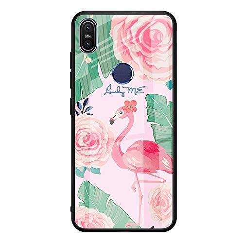 Caler Verre Trempé Arriere Protection Antichoc Coque Compatible pour Xiaomi Redmi Note7/Note 7 Pro [Motif en Verre trempé] avec Silicone Bumper de Mignon Motif Design Mince-Souple Case Etui(Flamingo)