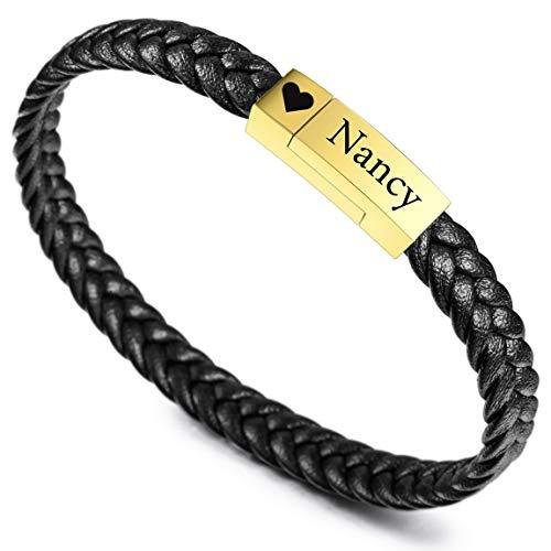 VIBOOS Pulseras Personalizadas Nombre de Grabado para Mujeres Niñas Hombres Niños Cuero Genuino Acero Inoxidable Brazalete Trenzado Regalos de Dama de Honor (Negro Cinturón + Negro Etiqueta)