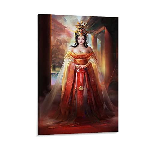 HYQHYX Pster retro de la dinasta china de la princesa Tang de la pintura del disfraz del arte de la decoracin de la pared del arte de la sala de estar del dormitorio pintura arte 60 x 90 cm