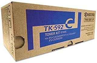 Kyocera TK-592C 1T02KVCUS0 FS-C2026 C2126 C2526 C2626 C5250 M6026 6526 P6026 Toner Cartridge (Cyan) in Retail Packaging