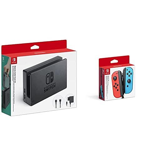Nintendo Dock Set Con Base Switch, Adaptador De Corriente Y Cable HDMI (Switch) + Mando Joycon Set, Color Azul Y Rojo (Switch)