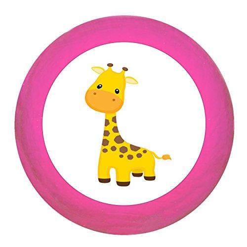 """Schrankgriff""""Giraffe"""" pink Holz Buche Kinder Kinderzimmer 1 Stück wilde Tiere Zootiere Dschungeltiere Traum Kind"""