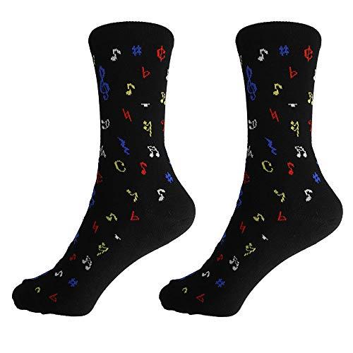 mugesh Musik-Socken schwarz mit Noten (43/45) - Schönes Geschenk für Musiker