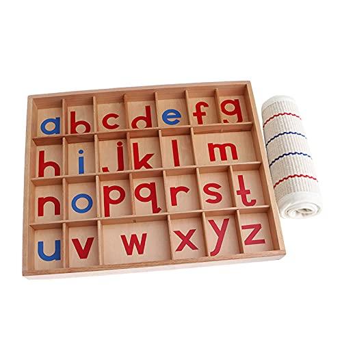 SunniMix Montessori en Bois Mobiliers Alphabet Langue avec Box Préscolaire Maternelle Orthographe Début Jouets Activité pour Enfants - avec Petit Tapis