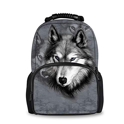 fhdc Mochila Gris 3D Wolf Animal Mochilas Escolares Mochila De Hombro para Estudiante Mochila De Libro Grande MochilaW1428A