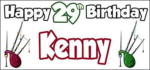 Póster personalizable de Bagpipes Escocia, 29 cumpleaños, decoración de fiestas, hijo, nieto,...