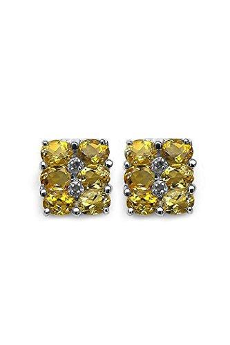Silverstone ancé–Joyería Femenina Pendientes–Plata 925, rodio–verdadera piedras preciosas a elegir