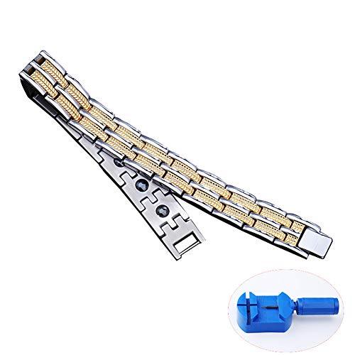 XINGXINGNS Titanium Magnetische Armband voor heren Gezonde Mens Zilver Zwart Bio Keramische Titanium Brede Armband Band Energie Polsband voor Sport Gerelateerde Therapie