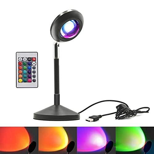 Lámpara de puesta de sol Lámpara de proyección de puesta de sol con control remoto RGB 16 colores cambiantes Proyector de luz nocturna de puesta de sol con rotación de 180 grados Luz de soporte