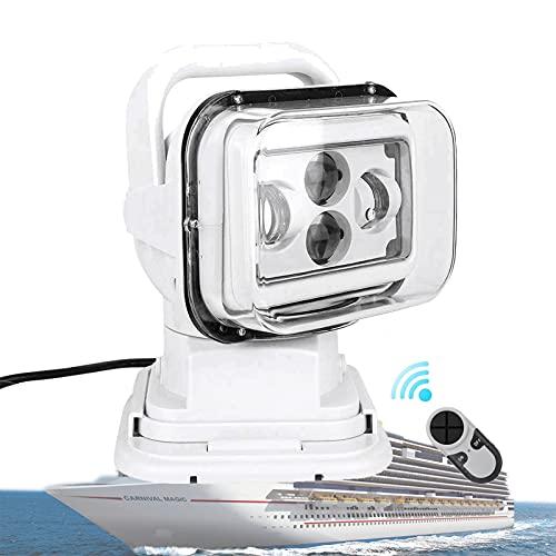 HIMNA PETTR Faro LED para Trabajo, Led Search Light con Control Remoto, para Todoterreno, Barco, Caza, Jardín DC 12 V [Clase De Eficiencia Energética A]
