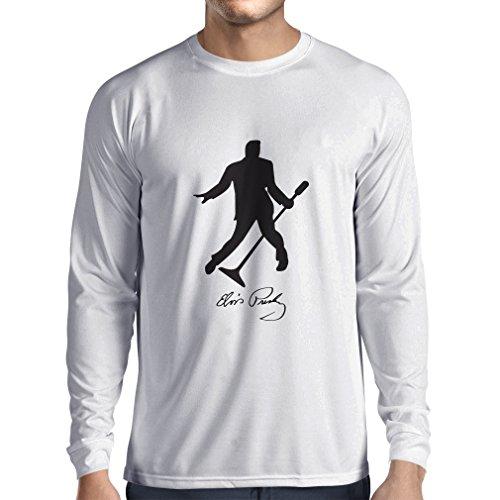 lepni.me Camiseta de Manga Larga para Hombre Me Encanta el King of Rock and Roll, 50s, 60s, 70s, Music Fan (Large Blanco Negro)