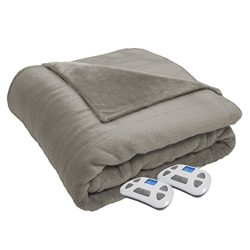 Serta Heated Electric Silky Plush Blanket with Programmable Digital Controller, King, Sand Model 0917