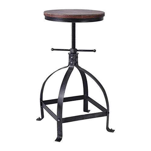 BAR STOOL GCX Table de bar rotative réglable et durable en bois massif et fer forgé Style industriel rétro Noir