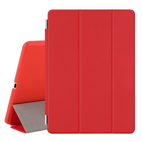 Besdata® Ultra Dünn Edles Smart Cover Leder Hülle Schutz Hülle Tasche + Back Hülle für ipad air 2 - inkl. Bildschirmschutzfolie Reinigungstuch Stift mit Multi Ständer Auto Sleep Wake (ipad air 2, Rot) - PT9803