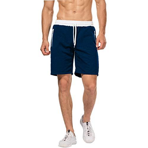 CHYU Herren Sport Joggen und Training Shorts Fitness Kurze Hose Jogging Hose Bermuda Reißverschlusstasch (M, Lake Blue)