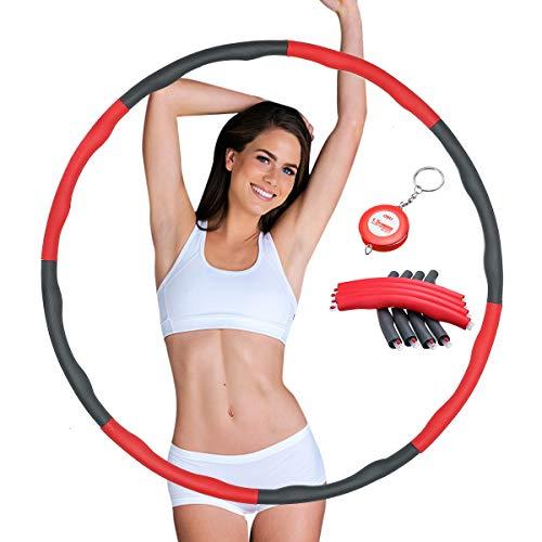 SGODDE Hula zur Gewichtsreduktion,Hoola Hoop Reifen mit Schaumstoff 1kg Gewichten Einstellbar Breit 75–95 cm beschwerter Hoola Reifen für Fitness Kinder & Erwachsene Gymnastikreifen mit Mini Bandmaß
