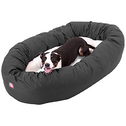Majestic Pet 40 Inch Gray Bagel Dog Bed with Sherpa Center