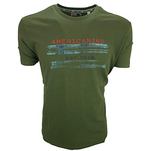 Americanino Camiseta de hombre de manga corta con diseño de Parícola, 100 % algodón, talla M, L, XL, XXL, 3XL Verde oscuro L