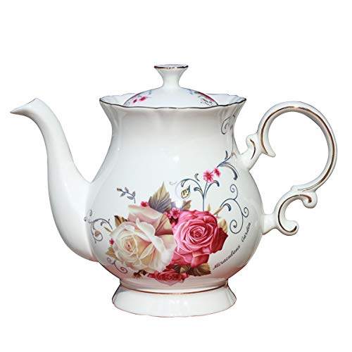 Jomop European Style Ceramic Flower Teapot Coffee Pot Water Pot Porcelain Gift Petal Large 55 Cups 1 Rose
