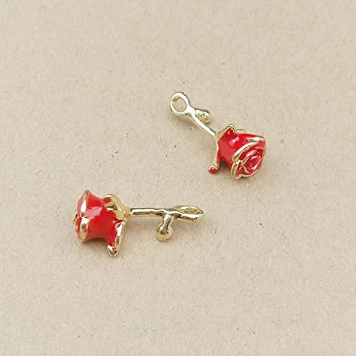 LLBBSS 10 Piezas 20X11Mm Esmalte De Metal 3D Colgante De Encantos De Flores De Rosa para Pendientes Que Hacen Collar Colgante Hecho A Mano Material De Bricolaje