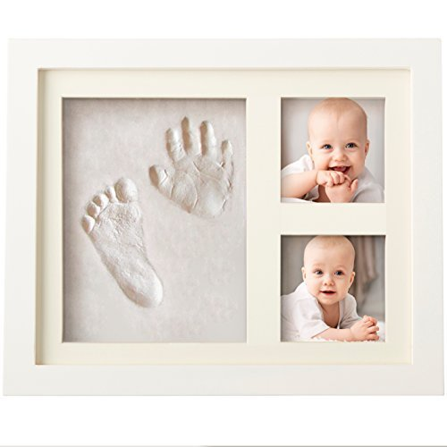 Bubzi Co Baby Handprint Kit & Footprint Photo Frame for Newborn Girls and Boys, Baby Photo Album For Shower Registry, Personalized Baby Gifts, Keepsake Box Decorations for Room Wall Nursery Decor