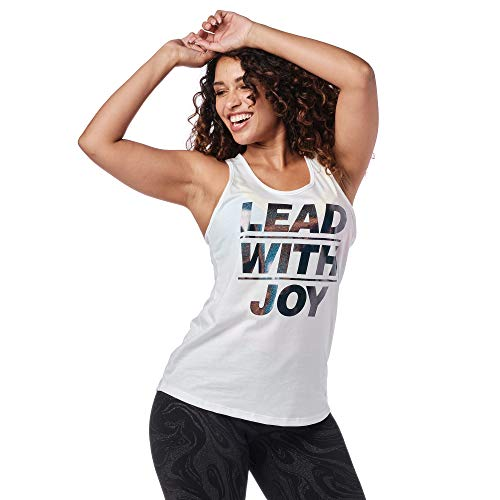 Zumba Graphic Print Dance Fitness Tank Tops Activewear Workout Tops for Women, Wear It Out White A, XS
