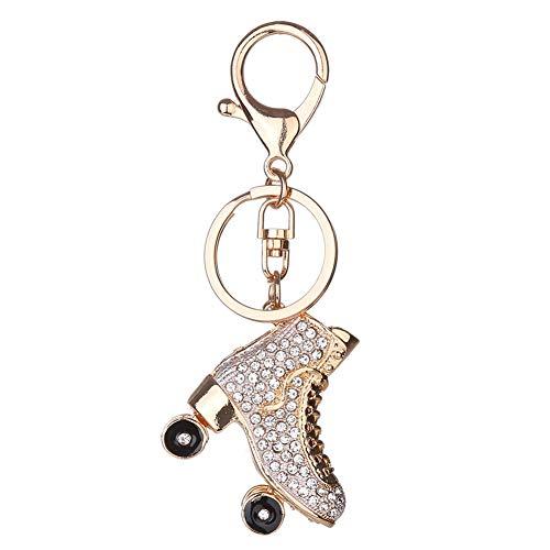 Nowbetter 1 Stück Stilvoller Rollschuh-Schlüsselanhänger Schlüsselanhänger Charm Kristall Auto Tasche Brieftasche Hängeornamente Geschenke Schlüsselhalter für Frauen Mädchen, weiß