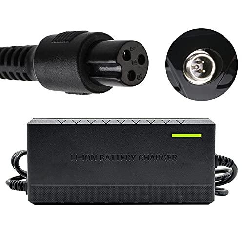 joyvio Cargador de batería 42V 2A Adaptador de Corriente con Conector de 3 Clavijas Adaptador de Cargador-Negro