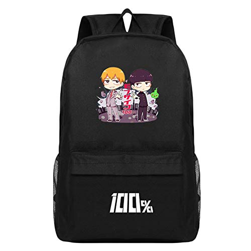 Unisex Mob Psycho 100 Rucksäcke Anime Printing Rucksack Casual Student Daypack Persönlichkeit Schultasche (Color : Black04, Size : 44 X 28 X 15cm)