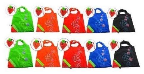 SMIN Einkaufstasche in Erdbeer-Form, faltbar, Ripstop-Nylon, wiederverwendbar, verschiedene Farben, 10 Stück