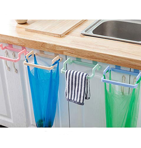 Müllbeutel Halter für die Tür, Geschirrtuchhalter zum Einhängen ohne bohren, Müllsack Halterung Schranktür Abfall Halter Geschirrhandtuch Halter Handtuch Halter Müllbeutelhalter (nordic green)