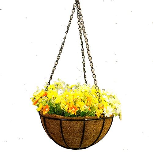 MSKW Cesta Artificial de la Flor Colgante, DIY Daisy Daisy Sun Flower Azalea Fake SILD FLOCER Linda CAÑO Cesta de la Cadena con Maceta, para jardín Interior y al Aire Libre Salón Balcón 0515