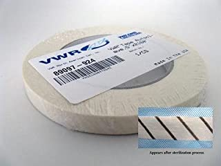 VWR 89097-924 Stripe Autoclave Tape, 1.27cm Width, 54.9m Length, Black